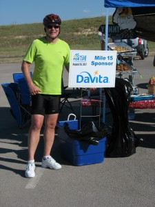 Rider at Aid Station - Cycle for Life 2017